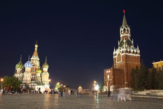Red Square, St Basils & Kremlin Tower : Stock Photo