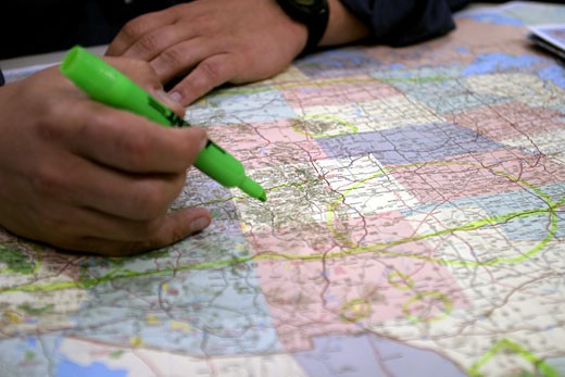 Planning a Driving Trip, American Map : Stock Photo