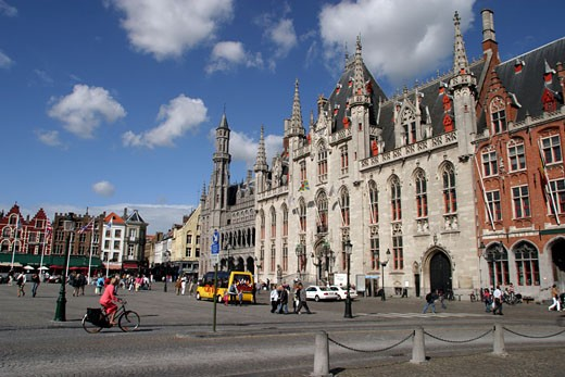 Bruges, Market Square and Town Hall : Stock Photo