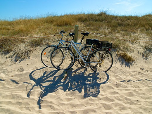 Platja Des Trucadors Hired Bikes, Formentera : Stock Photo