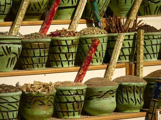 Street Near Khan Al Khalili Souk Spice Stall : Stock Photo