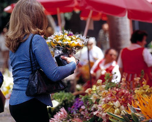 Funchal, Flower Sellers : Stock Photo