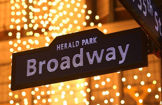 Herald Park/ Broadway Sign : Stock Photo