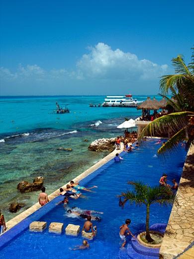 Isla Mujeres, El Garrafon, Swimming Pool : Stock Photo