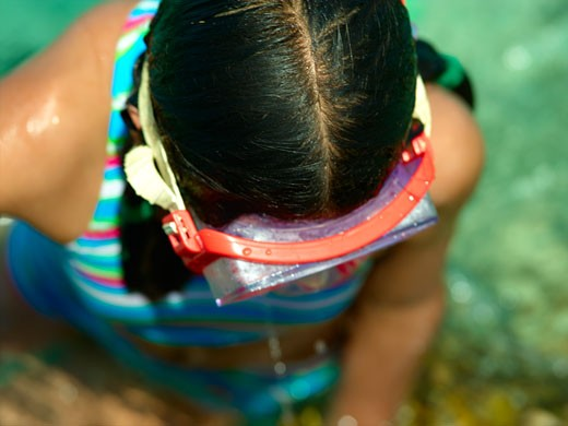 Isla Mujeres, Young Girl Snorkelling : Stock Photo