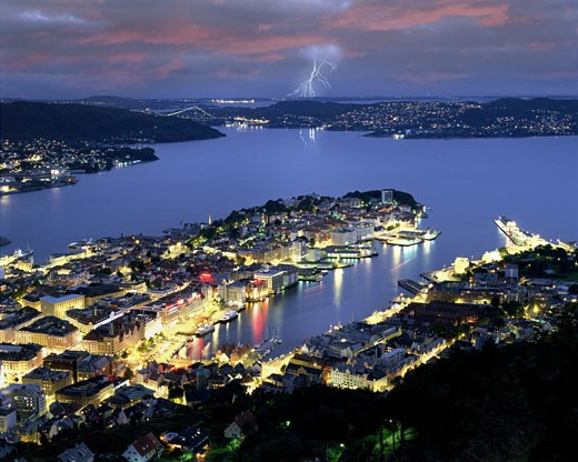 Bergen By Night From Fjellvei Mountain : Stock Photo