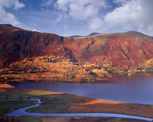 Autumn At Derwent Water In The Lake District : Stock Photo