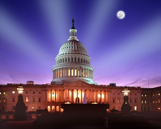 Washington DC, The Capitol By Night : Stock Photo