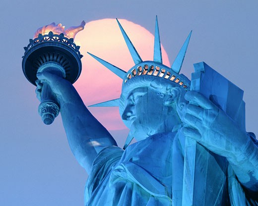 Statue Of Liberty At Sunset : Stock Photo