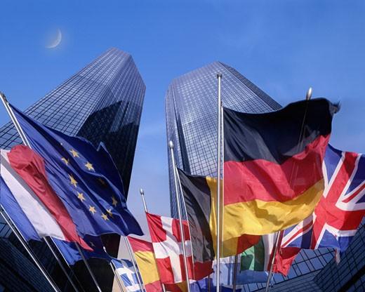 The Deutsche Bank Headquaters In Frankfurt : Stock Photo