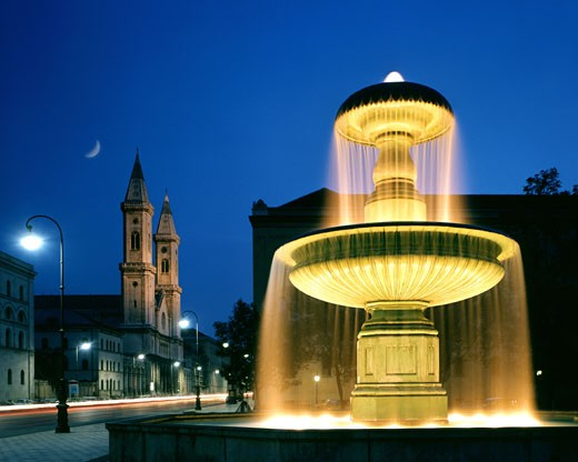 Church Of St. Ludwig And University Fountain : Stock Photo