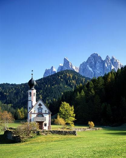St. Johann In Ranui, Val Di Funes : Stock Photo