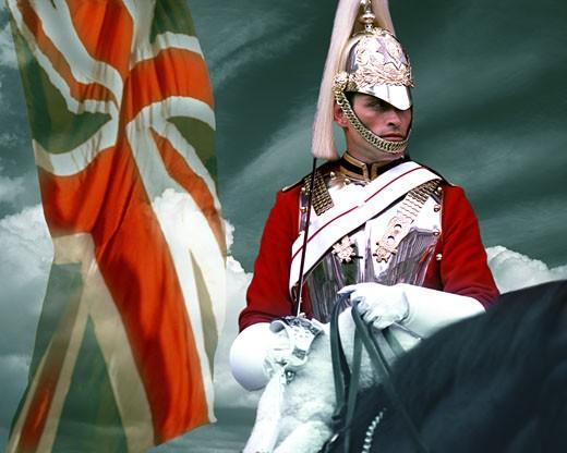 London, Royal Horse Guard at Whitehall : Stock Photo