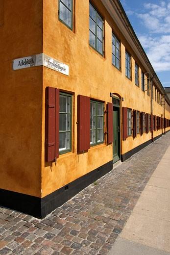 Terracotta-Style Finish On Housing & Buildings In Copenhagen : Stock Photo