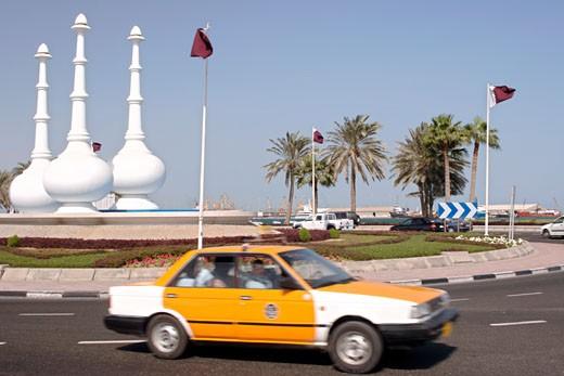 Doha, Monument On  Roundabout : Stock Photo