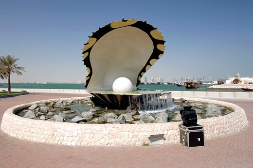 Doha, Corniche, The Pearl Monument : Stock Photo