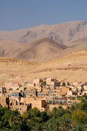Village & Surrounding Plantations At The Beginning Of The Todra Gorge, Vicinity Of Tinehir In The High Atlas Mountains. : Stock Photo