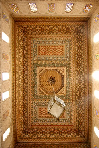 Dining Room Ceiling In The Bahia Palace In Marrakech, Morocco. Built In The Late 19th Century. : Stock Photo