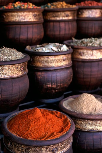 Spices For Sale In A Shop In The Souk In Marrakech, Morocco. : Stock Photo
