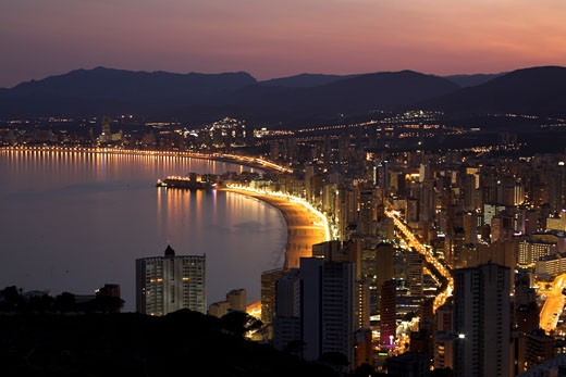 Benidorm at Night : Stock Photo