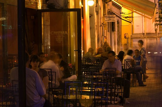 Cluj-napoca, Piata Uniri, Cafe Life At Night : Stock Photo