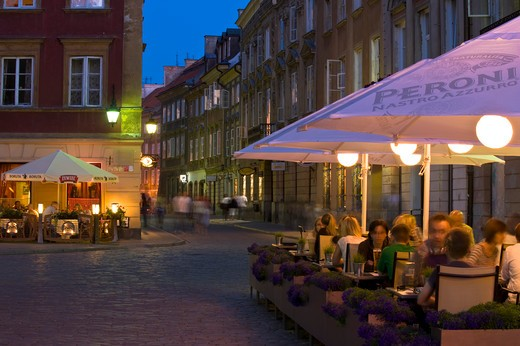 Sidewalk Bars And Restaurants At Night, Old Town, Warsaw, Poland : Stock Photo