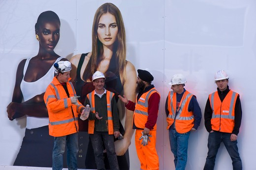 Construction Workers Resting, Westfield Shopping Centre, White City Development : Stock Photo