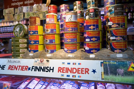 Tinned Meat On Sale, Kauppahalli, Helsinki, Finland : Stock Photo