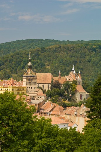 View Of Town And The Citadel Above, Sighisoara, Transylvania, Romania : Stock Photo