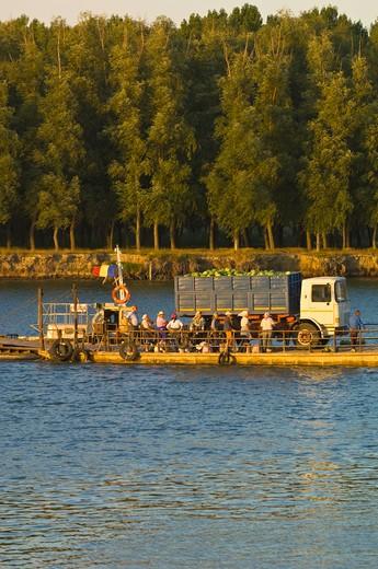 Ferry Crossing Across Bratul Sfantu Gheorghe, River Danube, Mahmudia, The Danube Delta, Dobrogea, Romania : Stock Photo