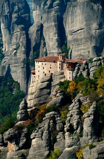 Stock Photo: 196-2312 Greece, Thessalia, Meteora, Monastery on top of rock