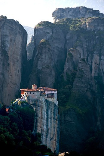 Greece, Thessalia, Meteora, Monastery on top of rock : Stock Photo