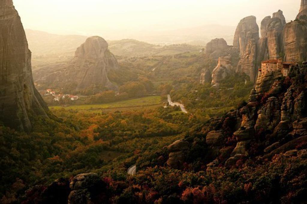 Greece, Thessalia, Meteora, Dramatic landscape : Stock Photo