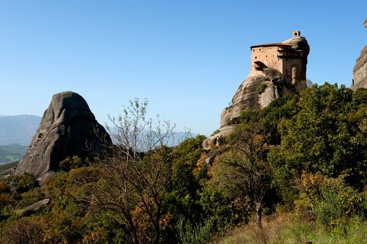Stock Photo: 196-2325 Greece, Thessalia, Meteora, Monastery on top of rock