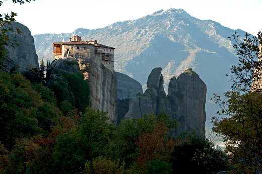 Greece, Thessalia, Meteora, Dramatic landscape with monastery on top of rock : Stock Photo