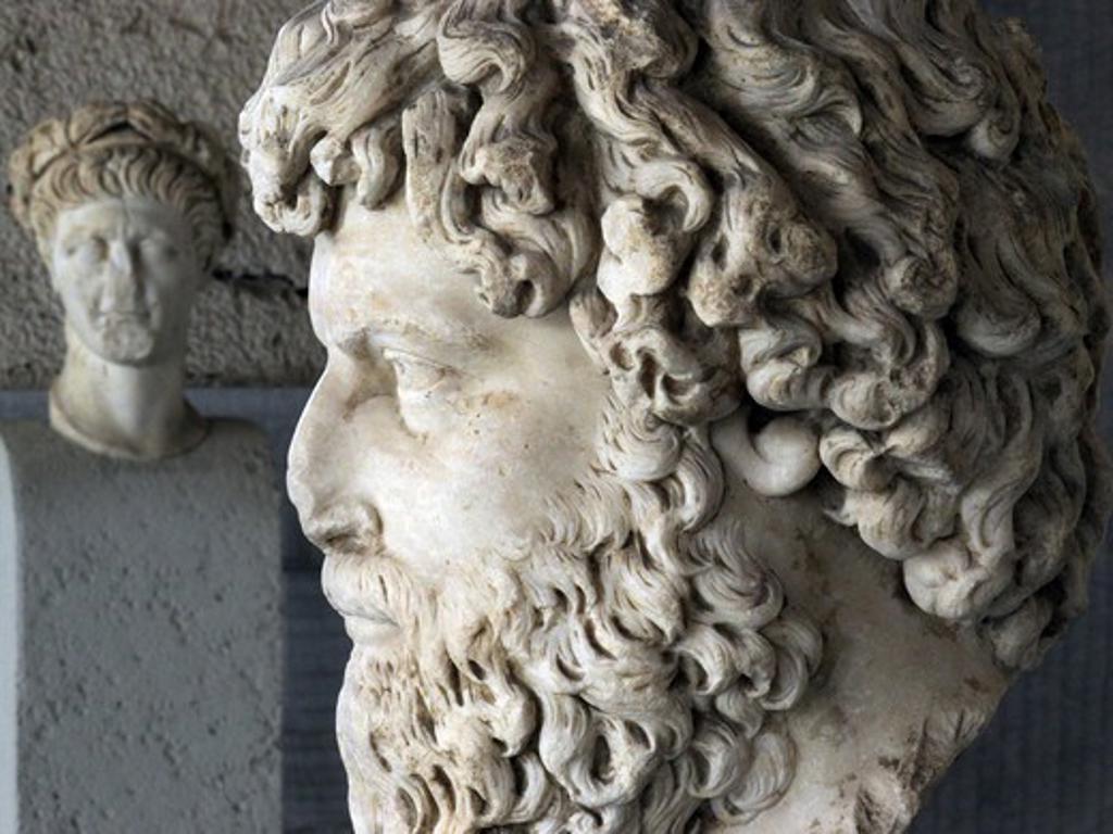 Greece, Athens, Agora, Stoa Attalou, Ancient sculptures : Stock Photo