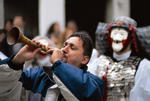 Greece, Macedonia, Naoussa, Musician at traditional festival : Stock Photo