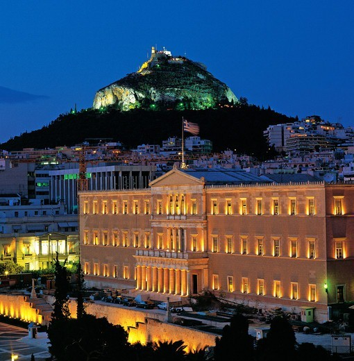 Stock Photo: 196-2339 Greece, Athens, Likavitos, Greek Parliament, Parliament building at night