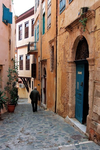 Greece, Crete, Hania, Old town alley : Stock Photo