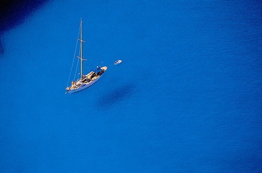Greece, Ionian Sea, Zakynthos Island, Sailboat on blue sea : Stock Photo