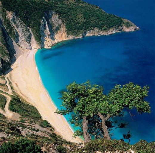 Stock Photo: 196-2404 Greece, Ionian Sea, Kefalonia Island, Myrtos Beach, Sea coast