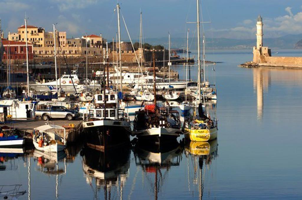 Stock Photo: 196-2411 Greece, Crete Island, Hania, Boats in harbor