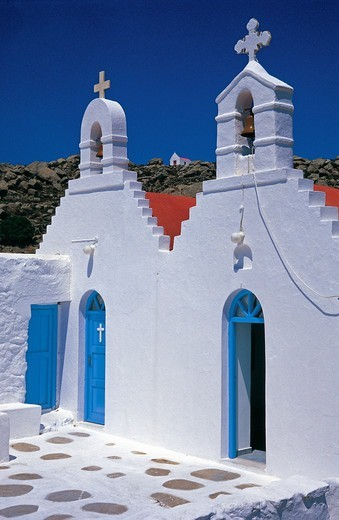 Stock Photo: 196-2429 Greece, Cyclades, Mykonos Island, Small church