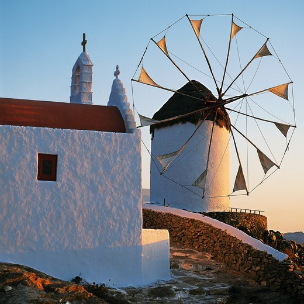 Stock Photo: 196-2432 Greece, Cyclades, Mykonos, Old windmill