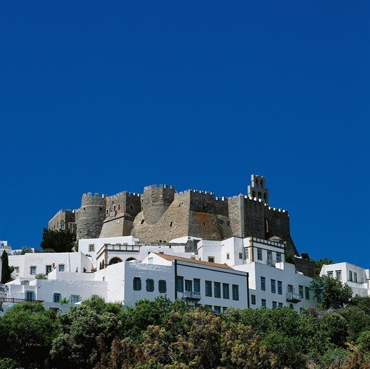 Stock Photo: 196-2447 Greece, Dodecanese, Patmos Island, Village with castle