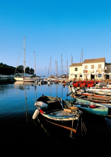 Greece, Ionian Sea, Paxi Island, Boats in harbor : Stock Photo