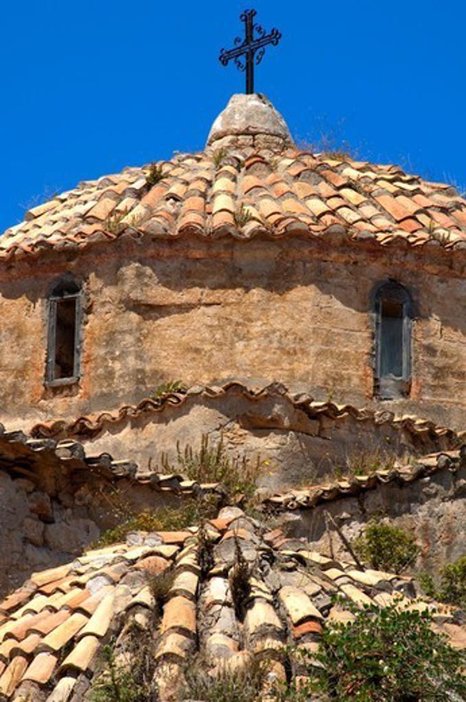 Greece, Peloponissos, Pylos, Old church roof : Stock Photo