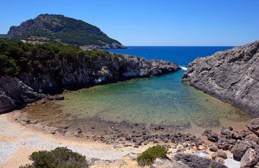 Greece, Peloponissos, Pylos, Rocky beach : Stock Photo