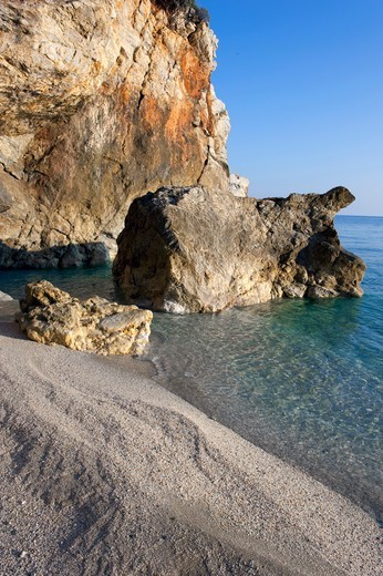 Stock Photo: 196-2504 Greece, Thessalia, Pilio Mountain, Rocks on beach