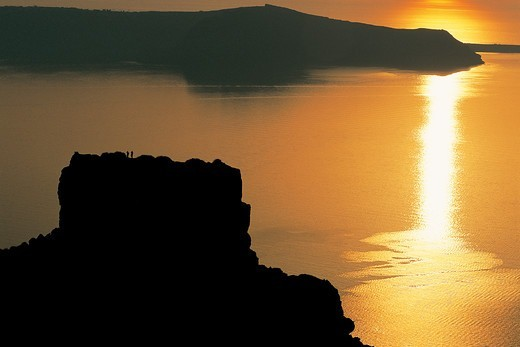 Stock Photo: 196-2518 Greece, Cyclades, Santorini Island, Sunset over sea